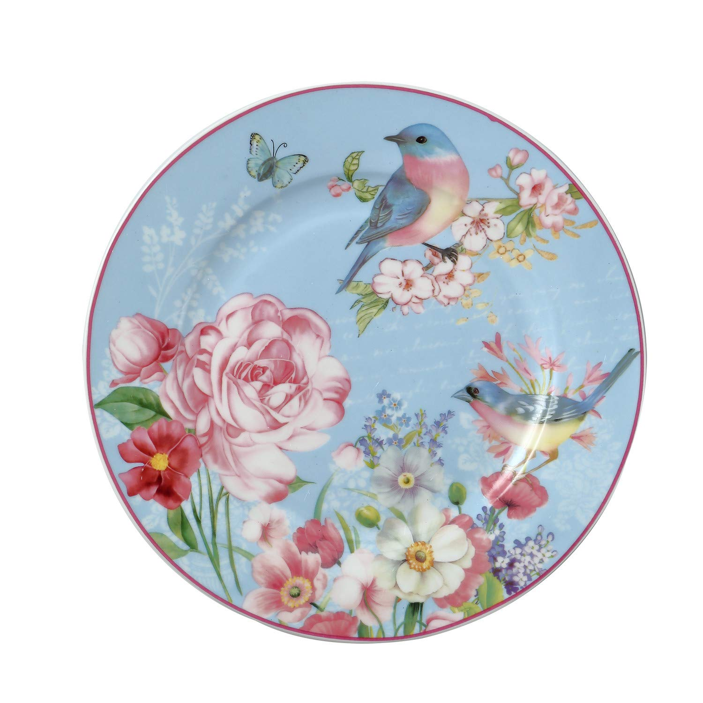 DAYE BOUTIQUE Salad/Dessert/Bread&Butter Plate Set of 2 Royal Fine Bone China, Vintage Bird Floral Plate, 8-Inch (Blue)