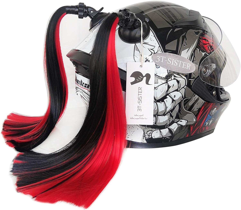 3T-SISTER Casco de coletas de gradiente Rampa Casco de cola de caballo Cabello con ventosa Decoración para el pelo para motocicleta Bike 2 piezas de 14 pulgadas (Negro)