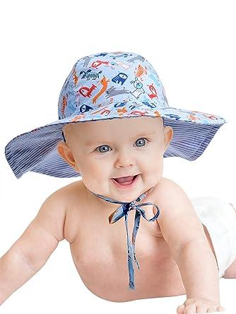 a93245a0c9a5 Baby Hat Toddler Summer Bucket Hat Kid Wide Brim Sun Protection Hat  Children Beach Swimwear Bucket Cap with Chin Strap