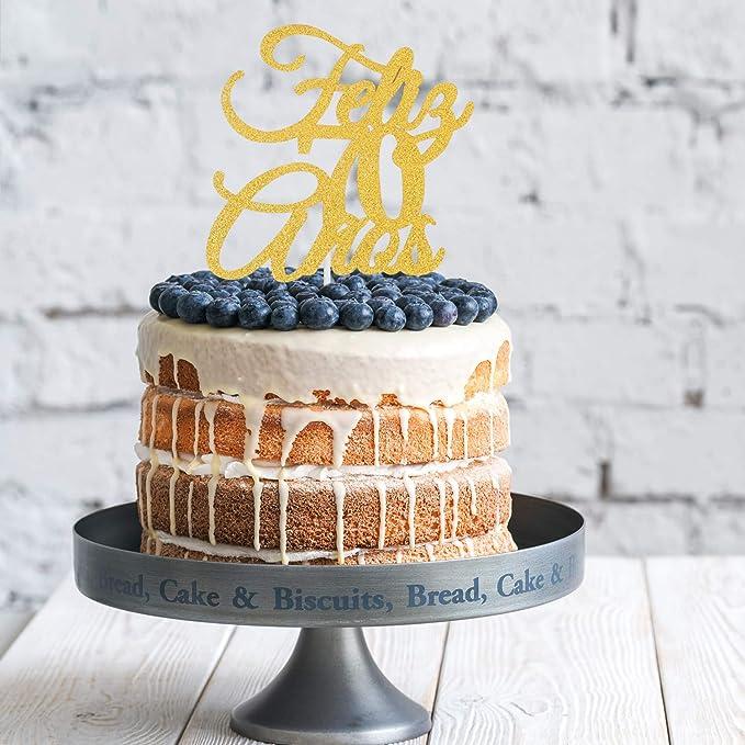 Feliz 70th Anos Anniversary Cake Topper - Gold Glitter Seventy Years Feliz Cumpleanos - Amada y Bendecida 70 Years Loved Blessed - Spanish Summer ...