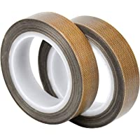 WEKON 2 rollen PTFE plakband, teflon tape, hoge temperatuur tape, -100 ℃ - + 260 ℃ PTFE gecoat glas stof plakband, (13…