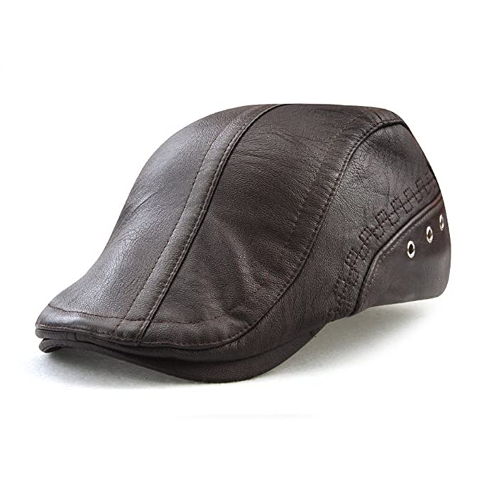 Roffatide Engranaje Costura Cuero de la PU Ajustable Plano Gorra Sombrero  de Boina Golf Chapelas Marron Oscuro  Amazon.es  Ropa y accesorios 7ce17437c31