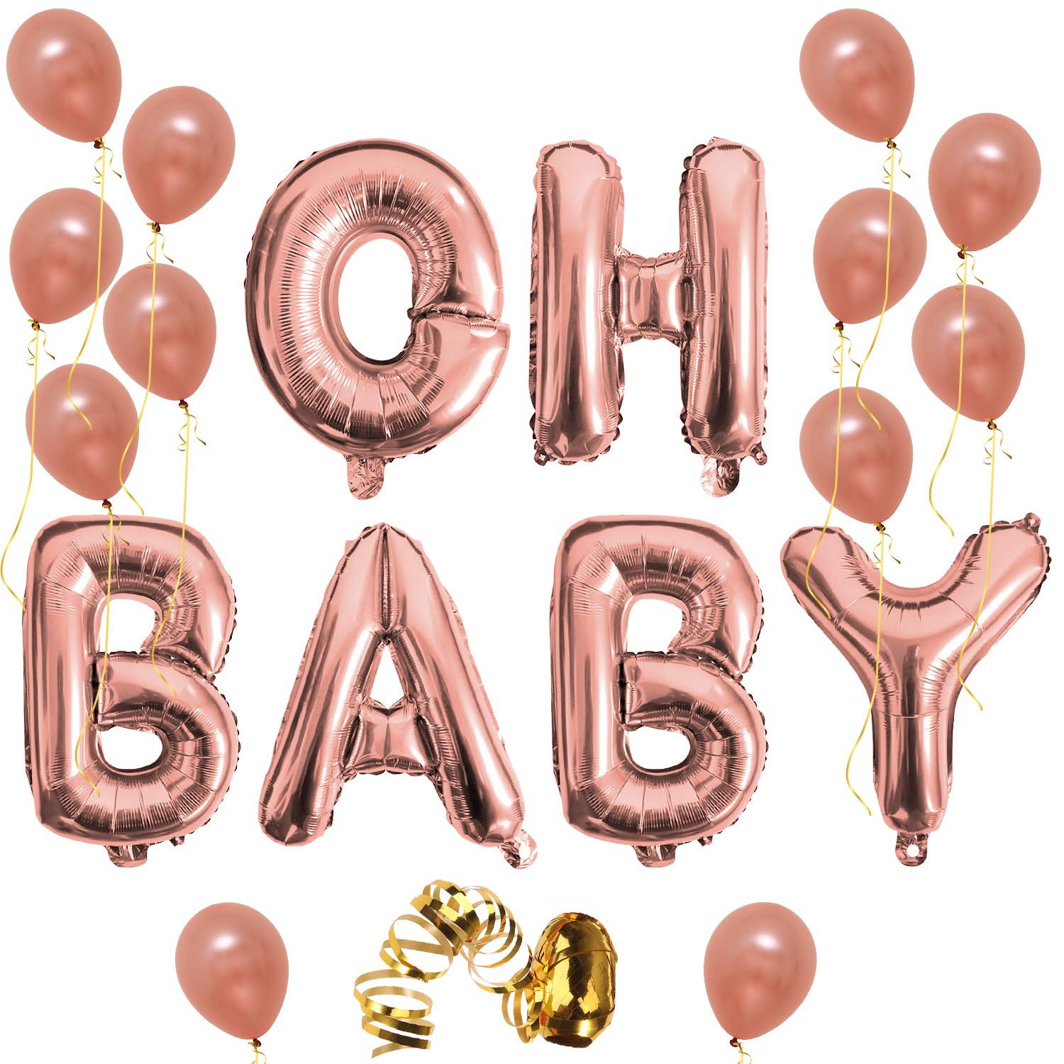 Amazon.com: Oh Baby Letter Balloons, Rose Gold Baby Girl/Boy Shower ...