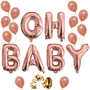 oh baby letter balloons rose gold baby girlboy shower banner baby shower