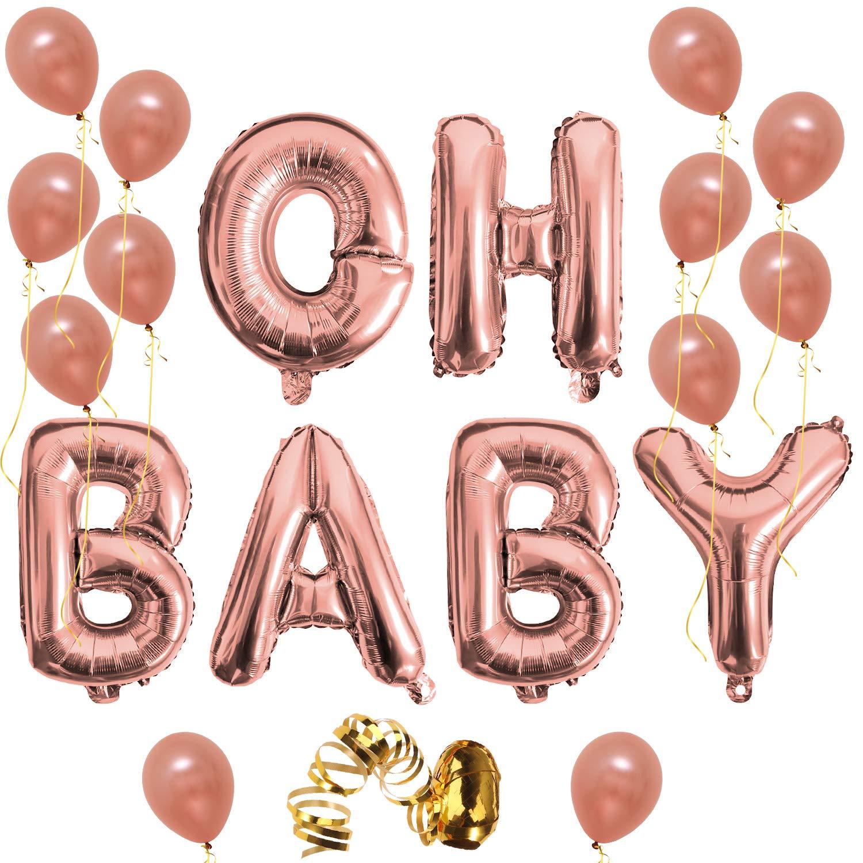 Oh Baby Letter Balloons, Rose Gold Baby Girlboy Shower Banner