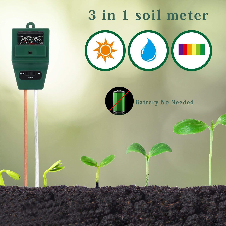Aitere Soil pH Meter, MS01 3-in-1 Soil Moisture/Light/pH Tester Gardening Tool Kits for Plant Care, Great for Garden, Lawn, Farm, Indoor & Outdoor Use (Green)