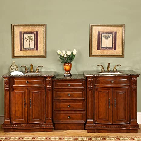 Amazon Com Silkroad Exclusive Hyp 0206 Bb Uic 85 Stone Top Double Sink Bathroom Vanity With Cherry Finish Cabinet 84 5 Medium Wood Home Kitchen