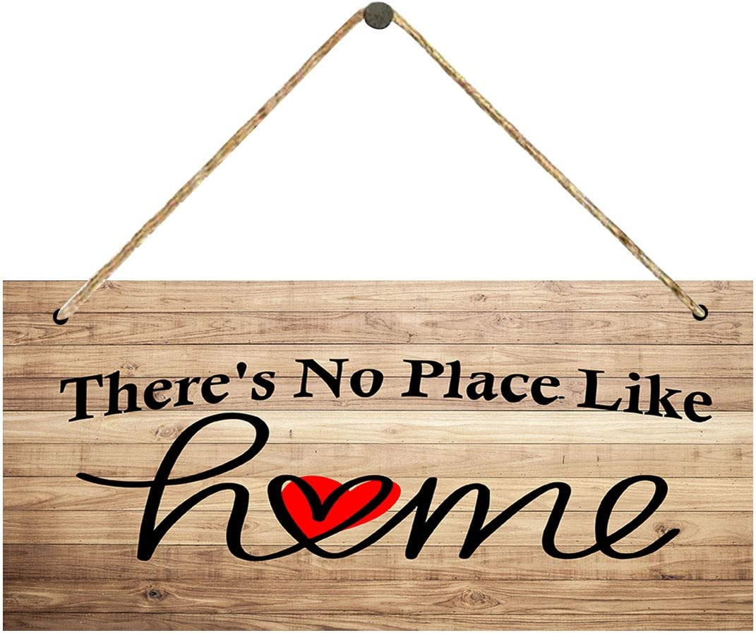 There's no Place Like Home Sign Plaque - Welcome Home Love Heart Sign,Rustic Farmhouse Decor Funny Family Signs