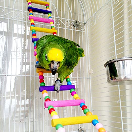 Pet Supplies Photo Color Multicolor Wood Beads Parrots Bouncing Cage Toy Bird Spiral Ladder Parakeet Toy mnoMINI Spiral Ladder for Parrots