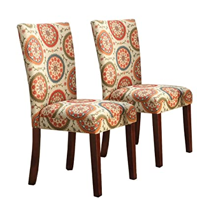 Kinfine N6354 F1423 Parsons Classic Dining Chair Room Tables, Set Of 2,  Orange