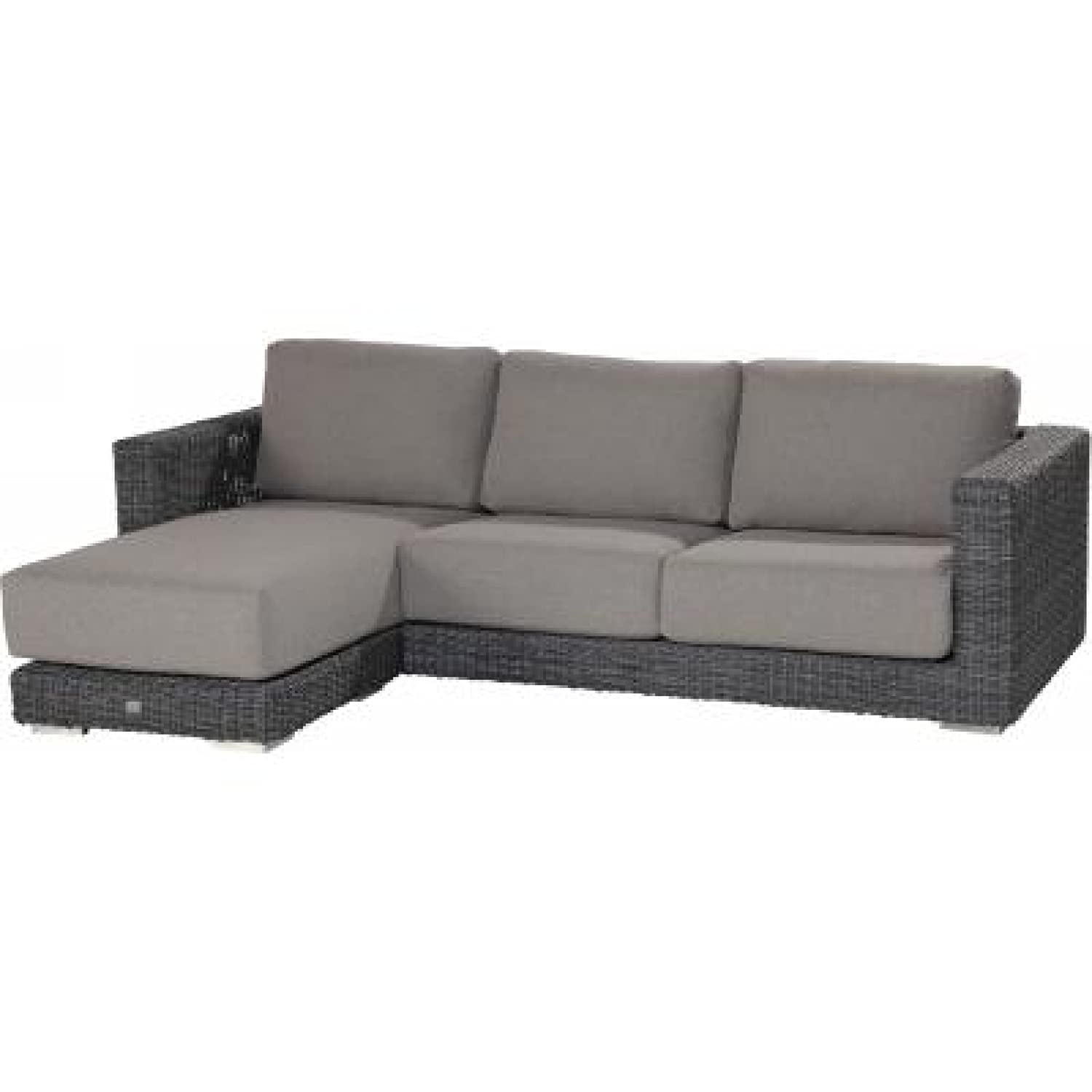 4Seasons Outdoor Somerset Ecksofa 4-Sitzer mit Fußhocker Polyrattan charcoal