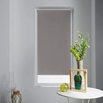 Store Dinterieur Rollo Blickdicht Polyester Weiss Taupe