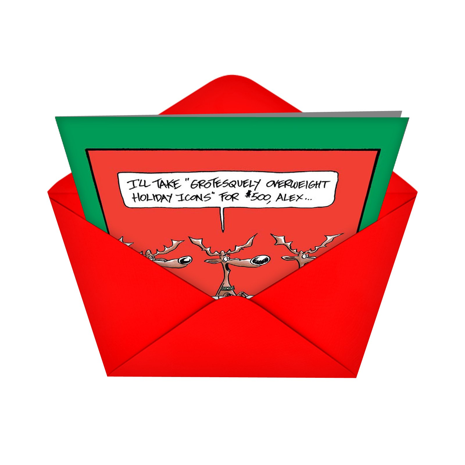 12 Boxed \'Reindeer Gameshow\' Christmas Cards with Envelopes (4.75 x ...