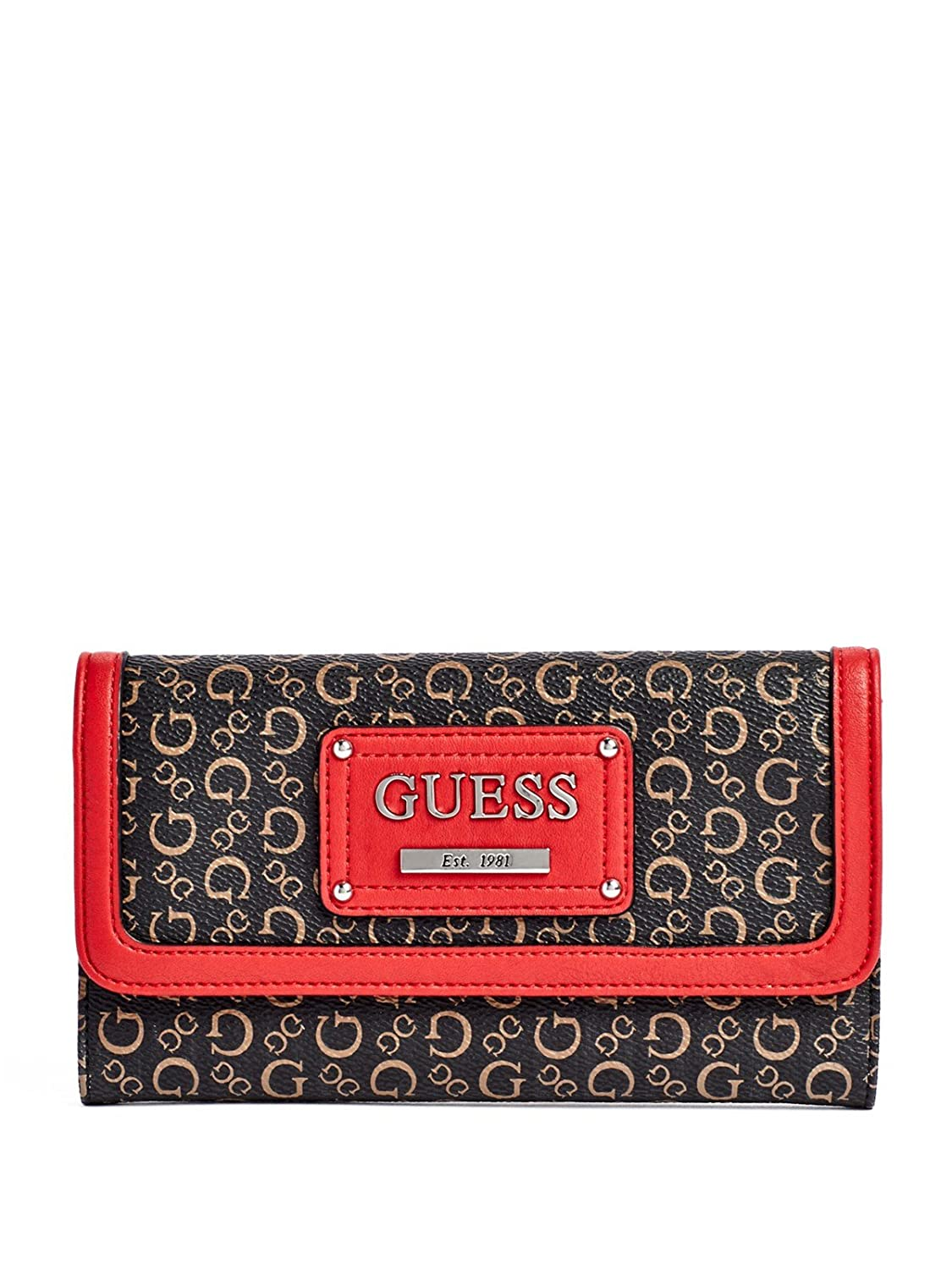 Guess Proposal Logo Large Checkbook Wallet Clutch Bag, Natural / Red