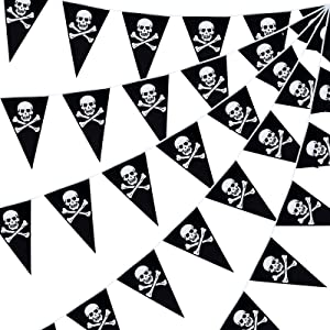 60 Pieces Pirate Banner Pennant Pirate Theme Party Triangle Flags Halloween Party Decorations Skull Banner for Party Celebration Decor
