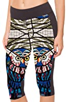 COCOLEGGINGS Womens 3D Digital Print High Waist Workout Yoga Capri Leggings