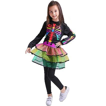 SEA HARE Vestido de Esqueleto de Arco Iris para Niñas ...