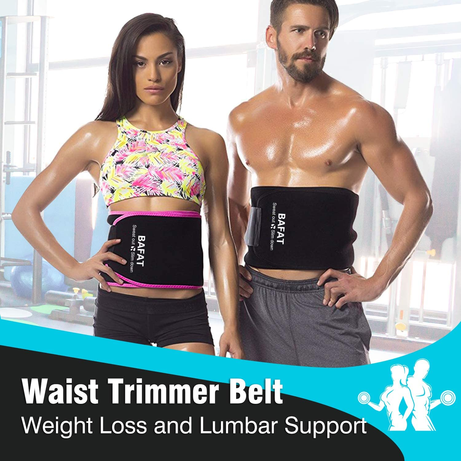 MIZATTO Waist Trimmer Belt Workout Sweat Tummy Wrap for Weight Loss and Lumbar Support