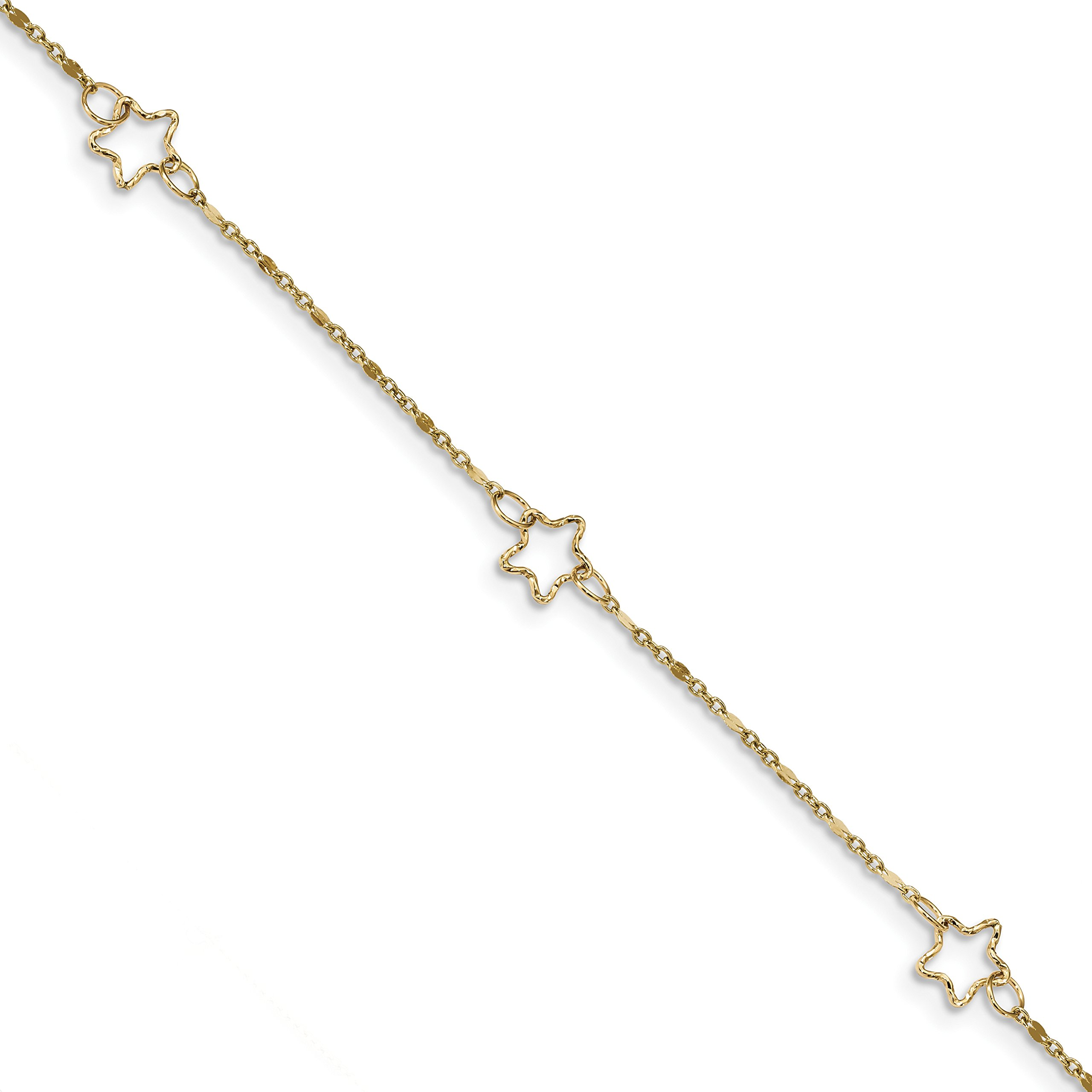 ICE CARATS 14k Yellow Gold Star Anklet Ankle Beach Chain Bracelet Celestial Fine Jewelry Gift Set For Women Heart