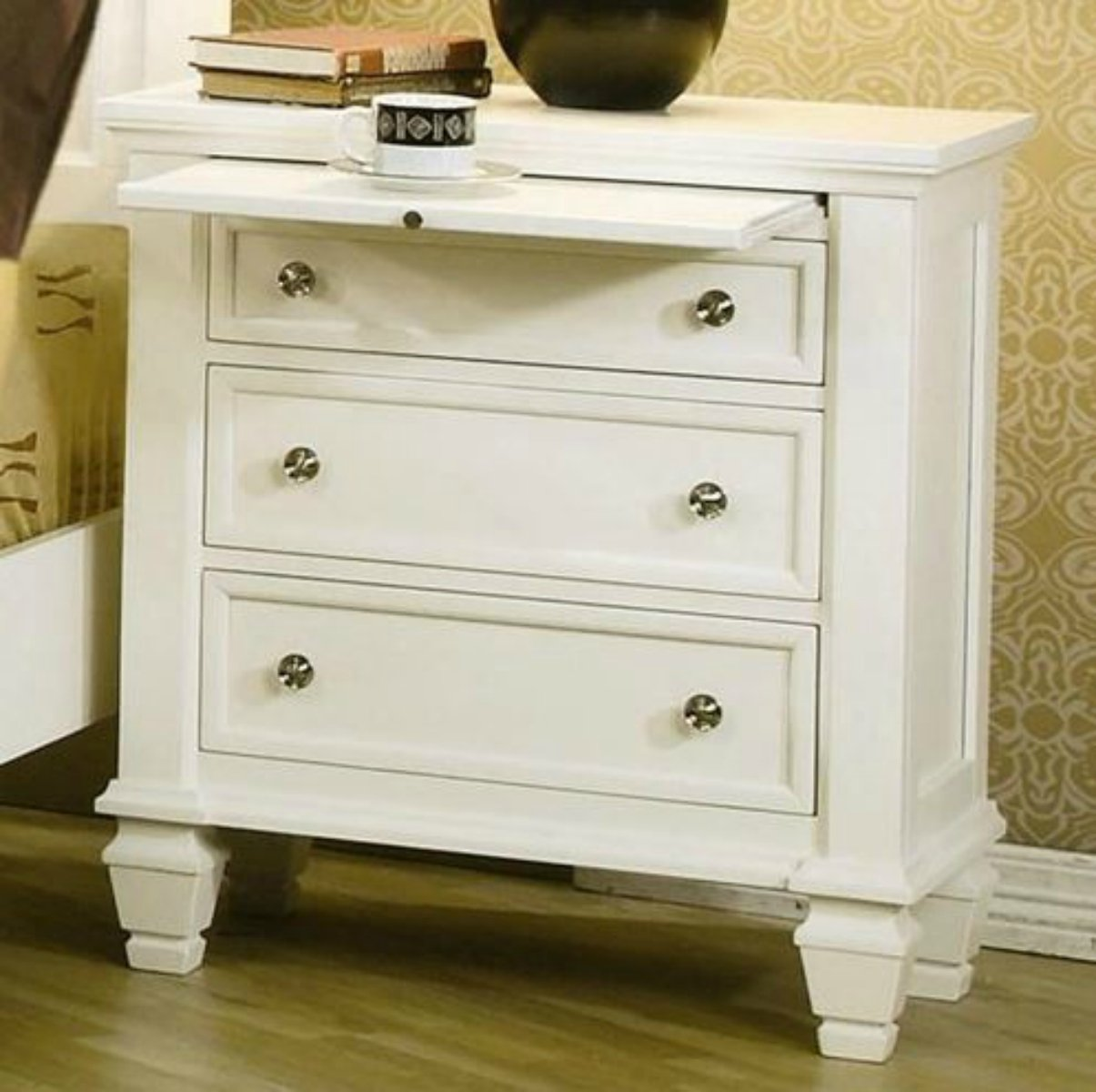 Wildon 3 Drawer Nightstand in White Finish - This Traditional Wood Accent Chest Is a Great Addition in Your Home Office or Bedroom - This Furniture Also Has a Pull-out Tray!