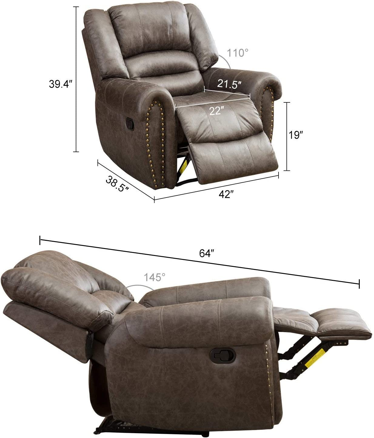 BONZY Oversized Recliner Leather Lounge Chair dimensions