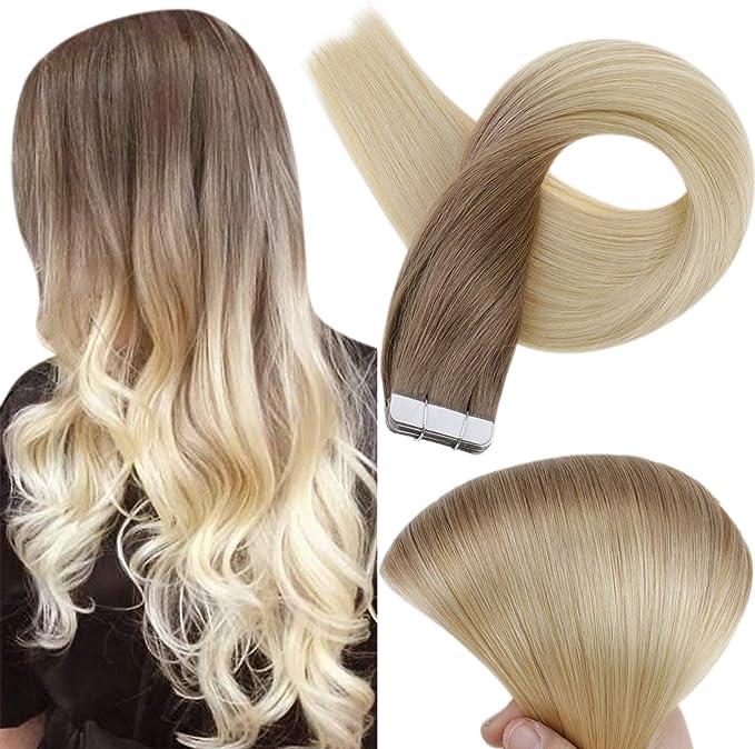 Full Shine Ombre Tape Hair Extensiones Adhesivas de Pelo Natural 22 Pulgada 20 Piezas 50 Gramo Per Package Balayage Color #6B And Color #613 Rubia