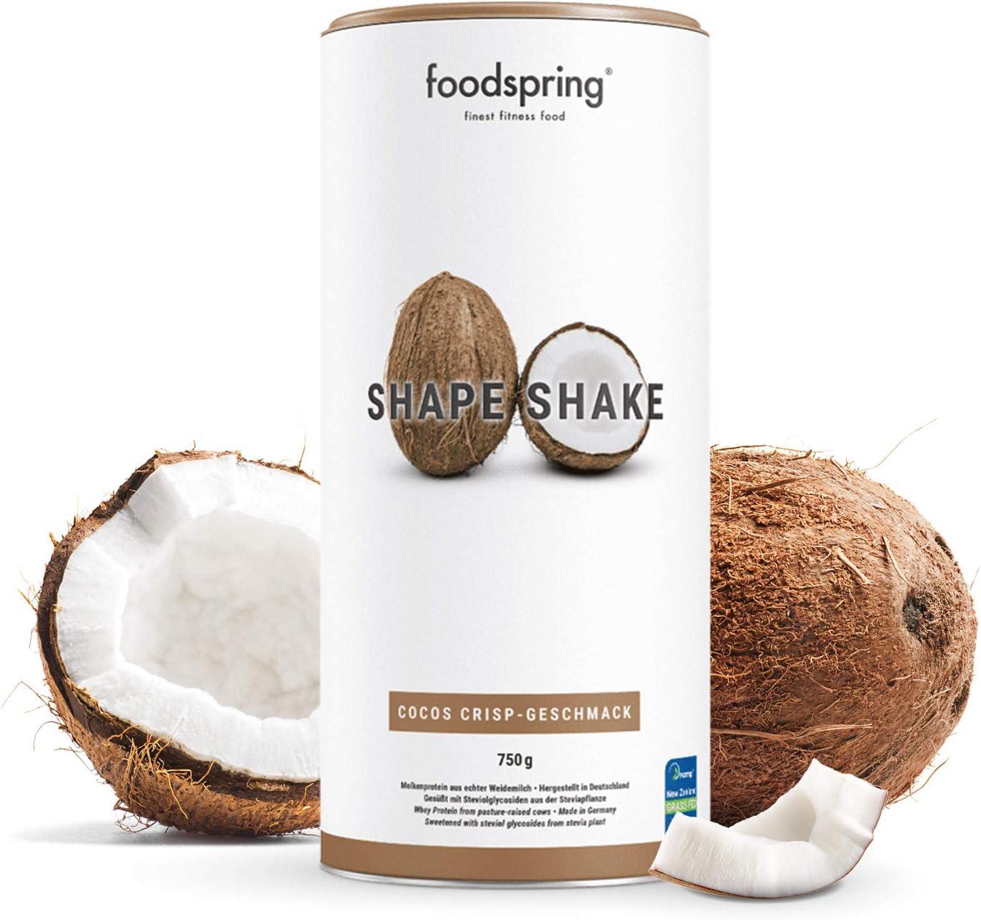 foodspring Shape Shake, Sabor Coco, 750g, Batido saciante, 100% proteína de suero de leche en polvo, Enriquecido con L-carnitina (quema grasas): Amazon.es: Alimentación y bebidas