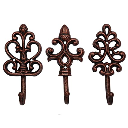 Amazon.com: Shabby Chic Cast Iron Decorative Wall Hooks - Rustic ...