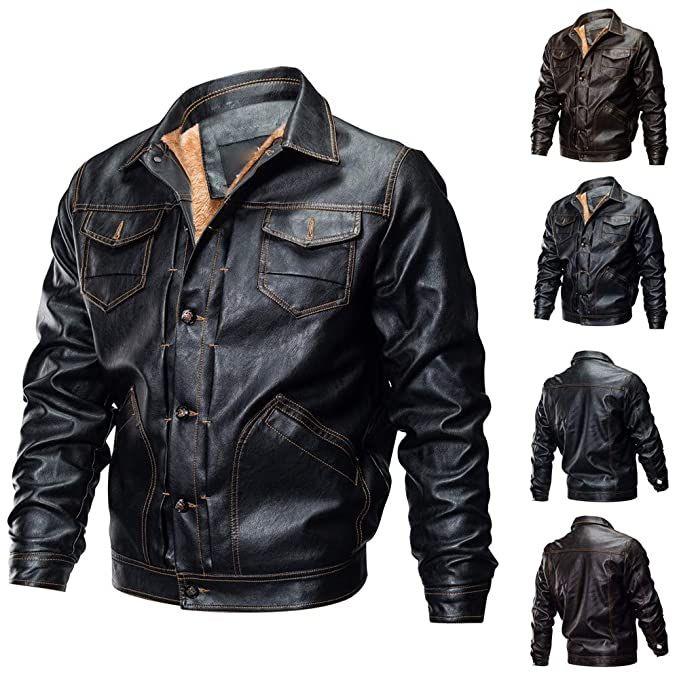 Emubody More Motorcycle Jacket Velvet Shockproof Leather Multi Pockets Men Autumn Winter Biker Button at Amazon Mens Clothing store: