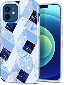 CAOUME Compatible with iPhone 12 Mini Case Blue Geometric Marble Design Sparkly Glitter Protective Stylish Slim Thin Cute Holographic Cases for Apple Phone, Soft TPU Silicone Bumper