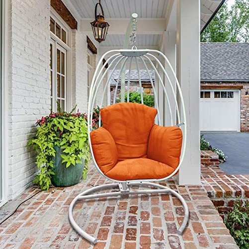 ART TO REAL Outdoor Wicker Egg Hanging Chair with Stand White Egg Shaped Hammock Chair Deep Seat Cushion Outdoor Patio Balcony Porch Lounge Egg Swing Chair