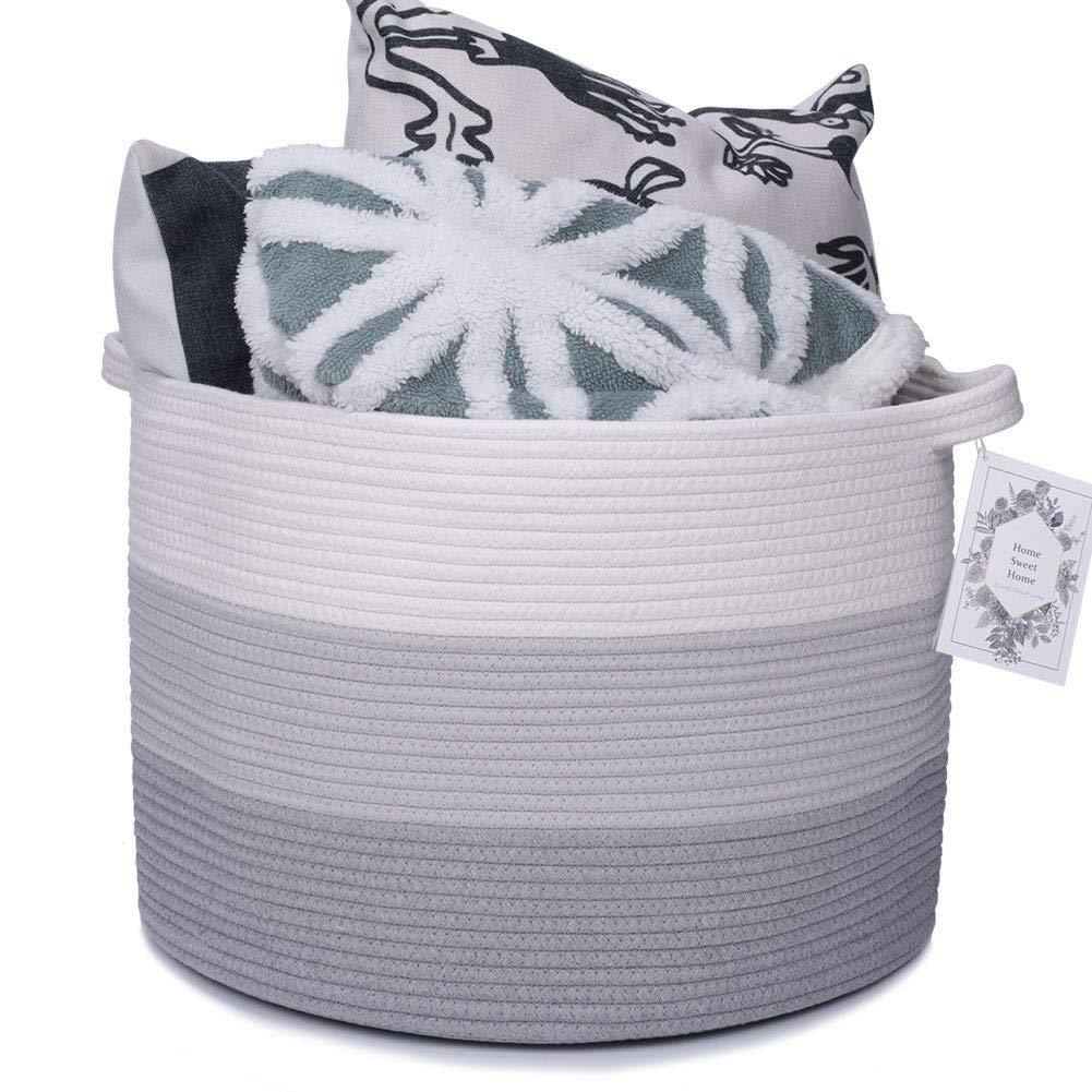 "Haidms XXX Large Baby Nursery Hampers Cotton Rope Blanket Basket Round Woven Baskets for Storage Decorative Basket, Laundry Baskets, Toy Basket, Nursery Organizer 20""×20""×13"""