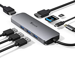 USB C Hub Multiport Adapter,USB C Adapter Hub,MacBook HDMI Adapter USB-C Hub for Laptop, Triple Display USB C to 2 HDMI+3USB 3.0+PD+SD,for MacBook Pro,Dell XPS 13/15,Surface Pro 7,etc.