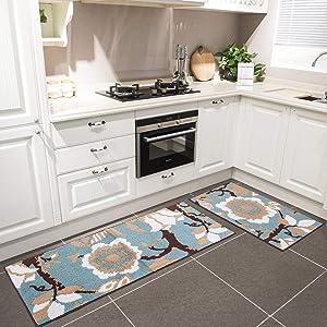"HEBE Kitchen Rug Sets 2 Pieces Non-Skid Kitchen Mats and Rugs Set Kitchen Rug Runner Doormat Runner Rug Set Washable (18""x28""+18""x48"")"