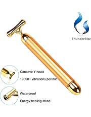 ThunderStar Upgraded 3rd Generation Electric 24k Gold-plated Energy Beauty Bar Y Shape with Hematite Healing Stone Anti Wrinkles Face Lift, Skin Tightening V Face, Face Firming Eliminate Dark Circles Free Pouch Facial Roller Massager Massage Vibration