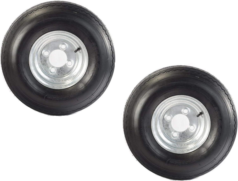 Two Equipment Utility Trailer Tires Rims 5.70-8 570-8 5.70X8 in LRB 4 Lug Galv