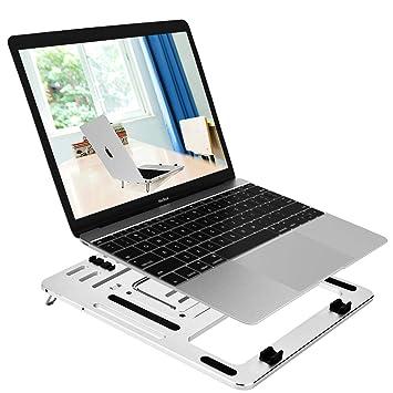 Laptop Stand Portátil,YOMENG Notebook Holder Ajustable Plegable Aluminio Ventilado Escritorio Tablet Compatible Para El