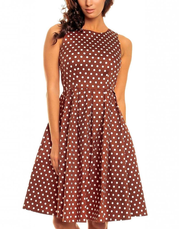 Catwalk Couture 1950er Damen Vintage Rockabilly Kleid Braun Weiß ...