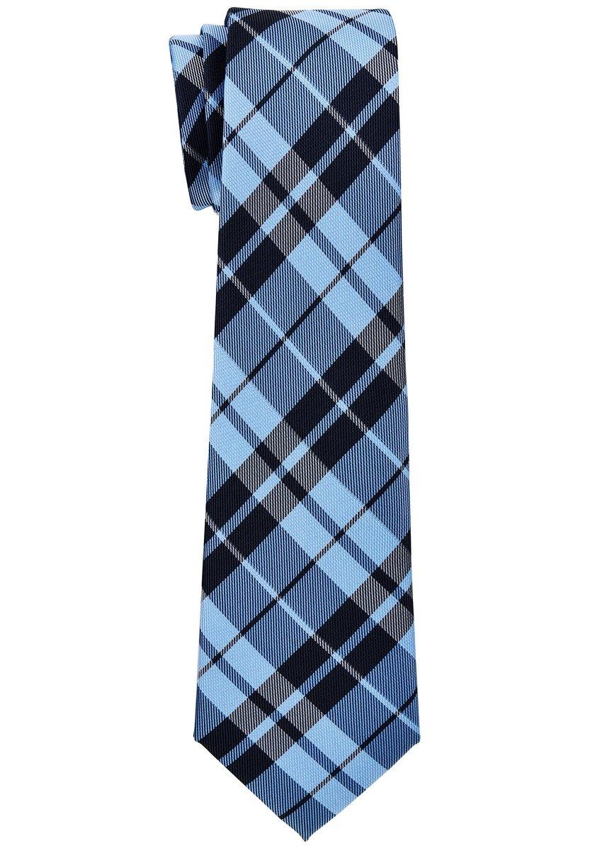 Retreez Preppy Plaid Check Woven Microfiber Boy's Tie (8-10 years) - Blue