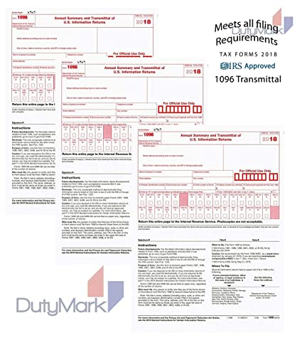1096 Transmittal/Summary Laser Tax Form -25 Pack- 2018 (1096 only)