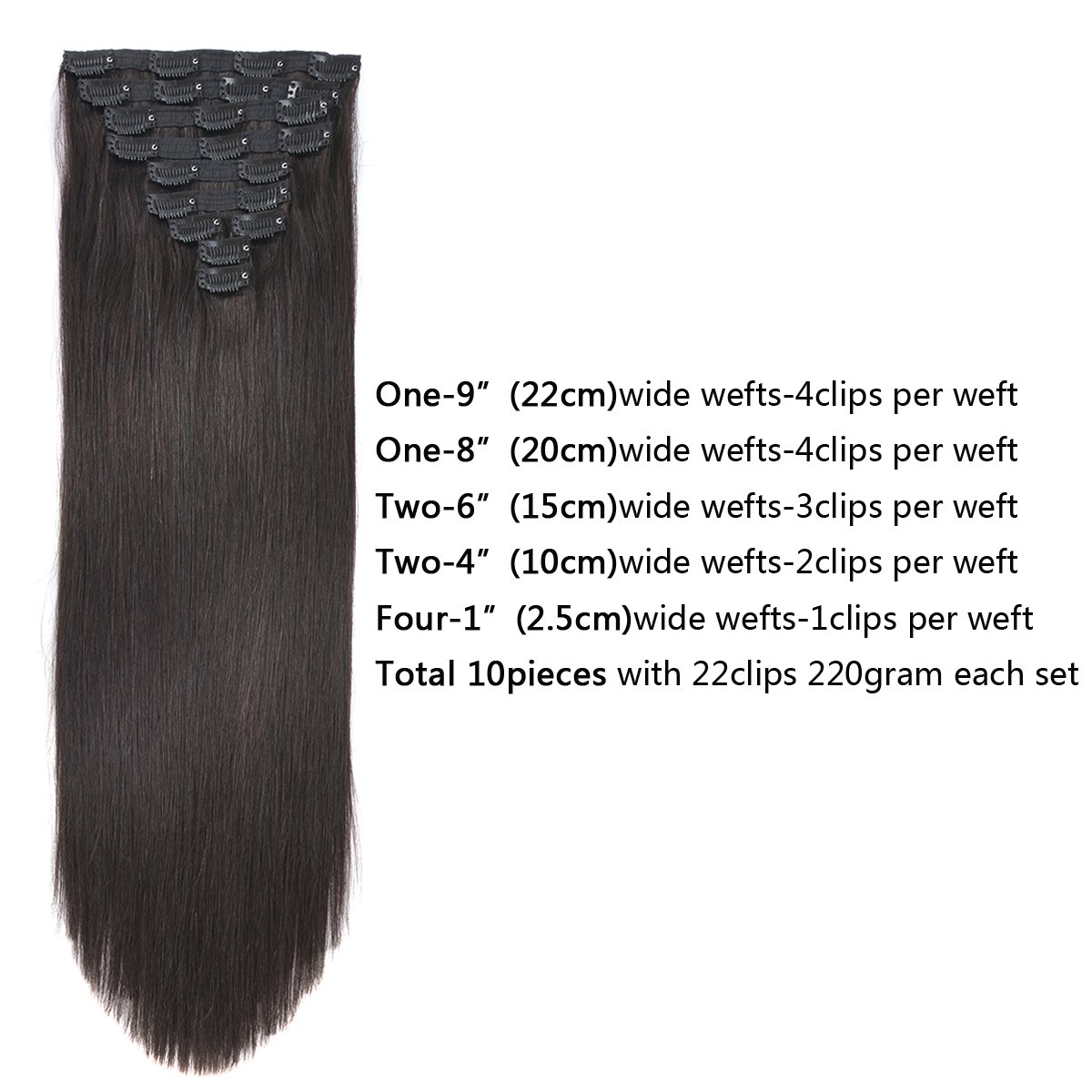 20'' Clip in Human Hair Extensions Natural Hair Clip in Extensions for Thick Hair Full Head Off Black #1B 10pieces 220grams/7.7oz by BEAUTY PLUS (Image #2)