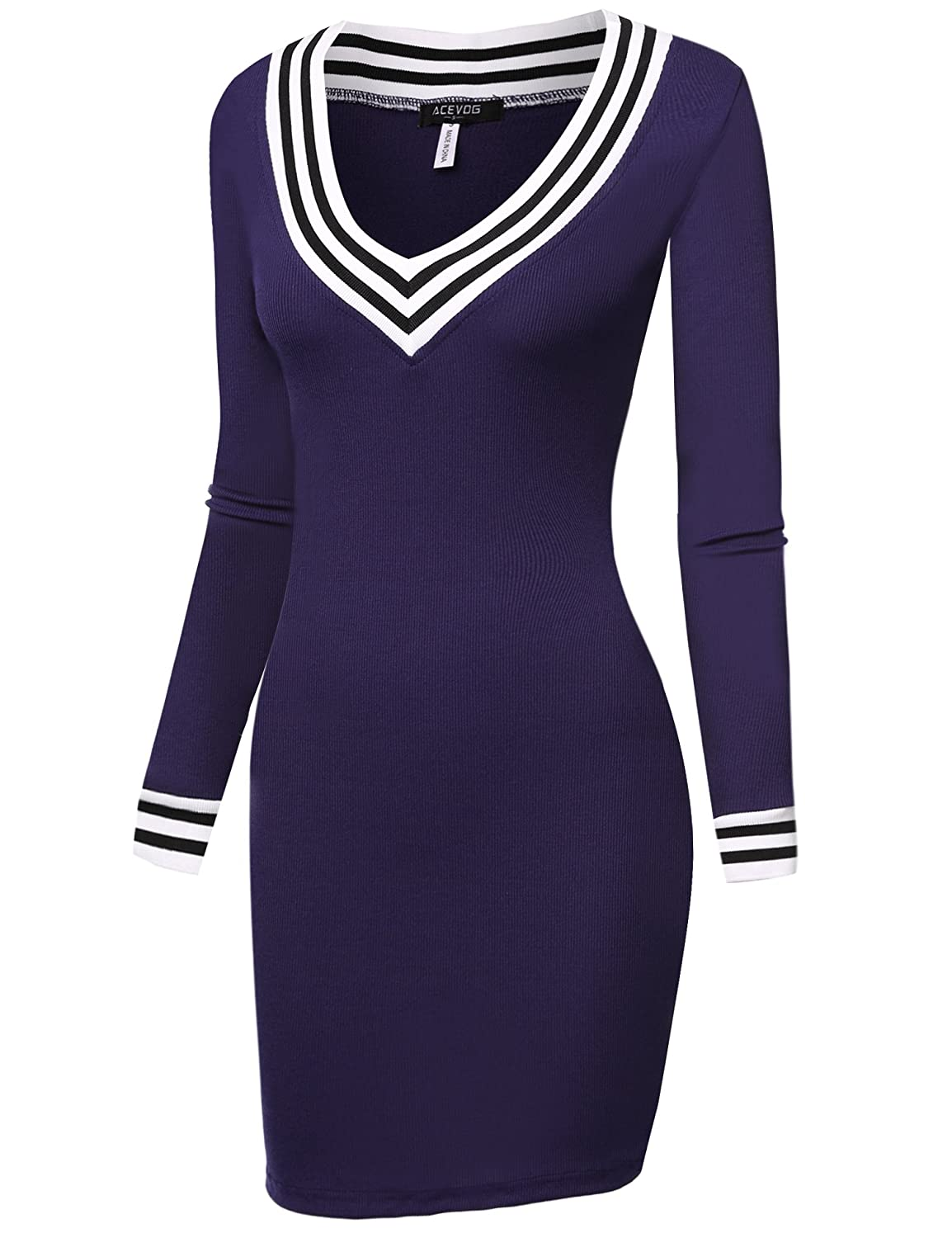 c7571f27385e Amazon.com: ACEVOG Women's V-Neck Long Sleeve Basic Knit Sweater Bodycon  Mini Dress: Clothing