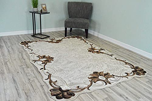 Twist Free Shape 3D Effect Hand Carved Traditional 5×8 Oriental Rug 3367 Beige Cream by ArtistryRugs