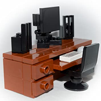lego furniture computer desk brown desk monitor speakers chair