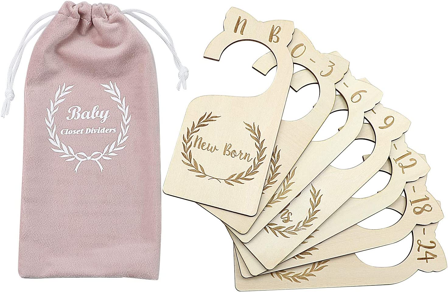 Premium Wood Baby Closet Dividers,Set of 7,from Newborn to 24 Month,Baby Closet Organizers,Nursery Decor,Baby Clothes Organizers (Style-1)