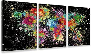 Colorful World Map Wall Art 3 Pieces - Abstract Canvas Wall Art - Map Decor Easy to Hang for Living Room Bedroom Bathroom Home