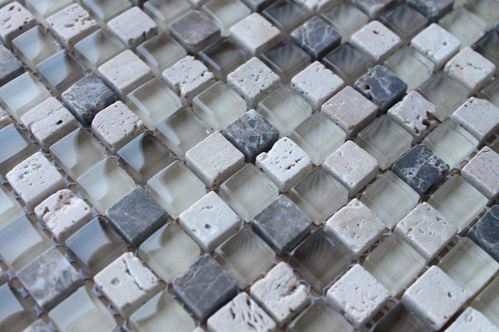 10 Sq Ft - Bliss Cappucino Stone and Glass 5/8 x 5/8 Square Mosaic Tiles - Kitchen Backsplash/Tub Surround