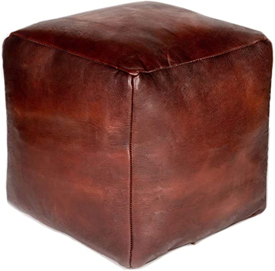 Moroccan Buzz Premium Unstuffed Leather Cube Pouf Ottoman Cover
