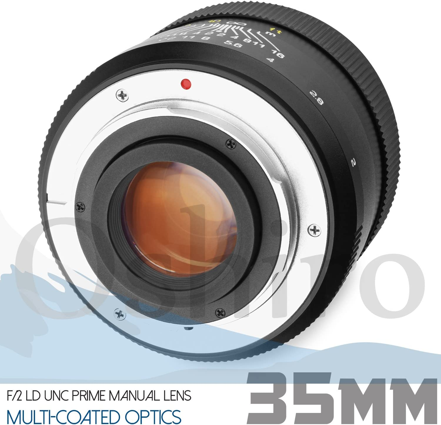 4 Items Oshiro 35mm f//2 LD UNC AL Wide Angle Full Frame Prime Lens for Sony E-Mount FE Mirrorless Cameras Bundle with Opteka 55mm 9 Piece HD Multicoated Graduated Color Filter Kit Set /& Accessories