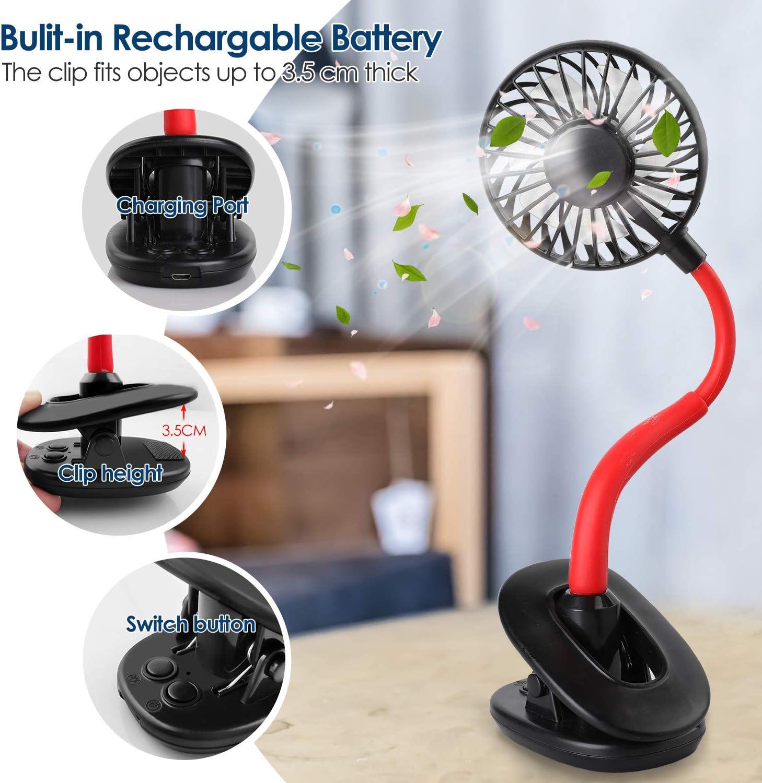 Ufficio 3 Velocit/à Ventilatore Tavolo USB Portatile 800mAh Batterie Ricaricabile Gradiente LED Rotazione a 720/° Ventola di Raffreddamento per Casa Bianca WD/&CD Mini Ventilatore USB con Clip